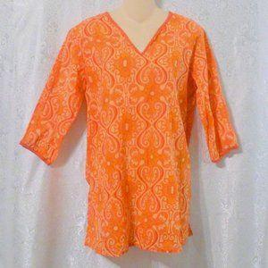 World Market Sheer Boho Orange Print Tunic Top